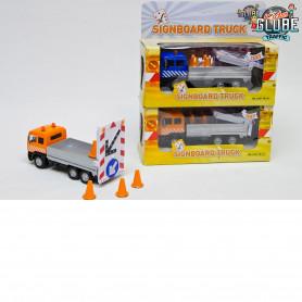 Pull back truck met light up trailer