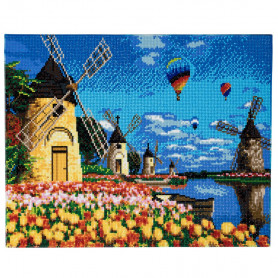 Crystal Art Windmills and Tulips - 40x50 cm - Full DP