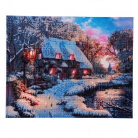 Crystal Art Winter Cottage LED special - 40x50 cm - Partial DP