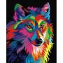 Regenboog Wolf - Schilderen op nummer - 50 x 40 cm