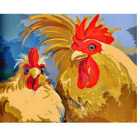 Chickens - malen nach zahlen - 40 x 50 cm