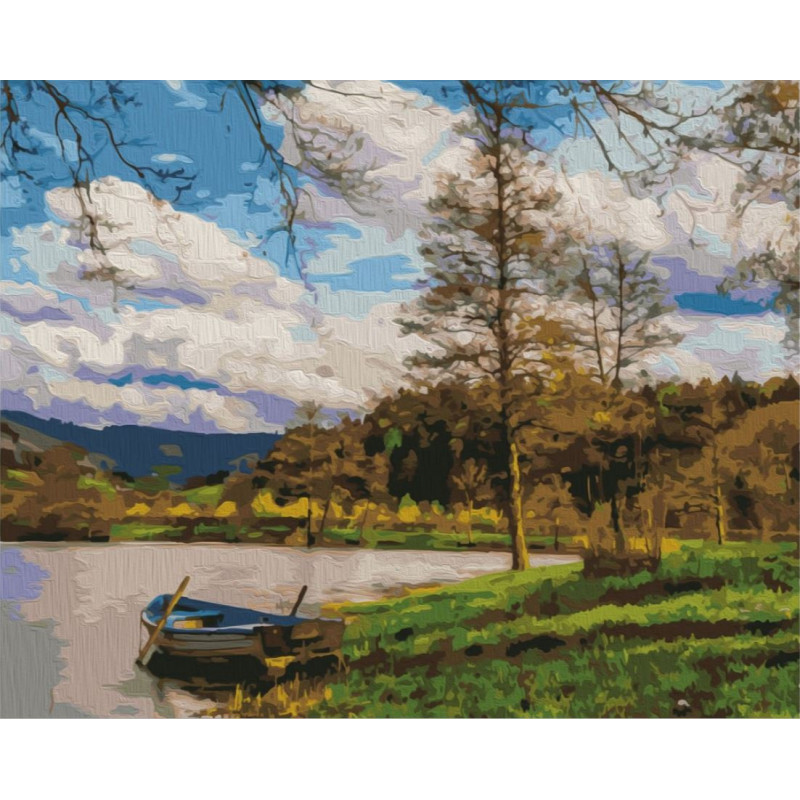 Boat by the River - Schilderen op nummer - 40 x 50 cm