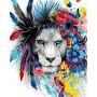 Kleurrijke Leeuw - Schilderen op nummer - 50 x 40 cm