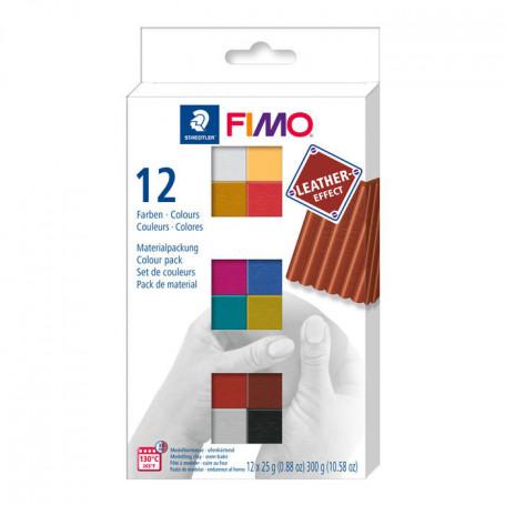 Fimo Leather effect set met 12 halve blokken
