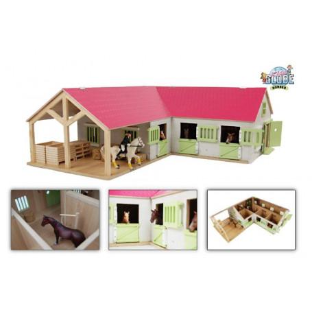 x Kids Globe paardenhoekstal met 3 boxen een wasplaats en berging 1:24 roze