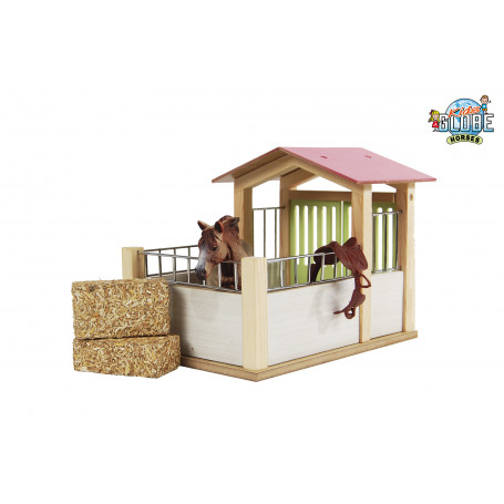 Kids Globe houten Paardenbox roze 1:24 (voor Schleich paarden)