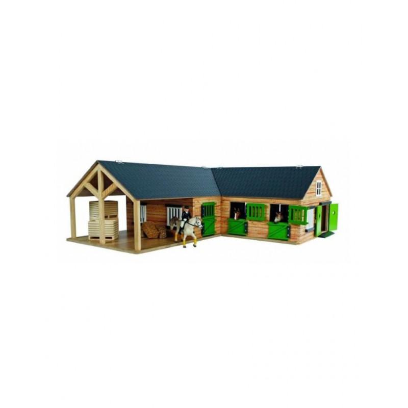 x Kids Globe Paardenhoekstal, wasplaats, 3 boxen en berging 1:24