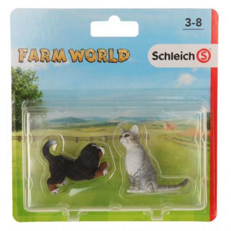 Schleich 87392 huisdieren 2 pack - Zittende kat & Bennersennen pup