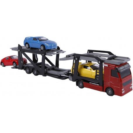 Autotransporter met 3 auto's die cast/plastic 26cm