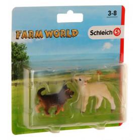 Schleich 87391 Farm Life 2 Pack 2 Lamm und Schäferhund Welpe