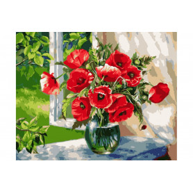 Poppies on the Windowsill  Painting by numbers