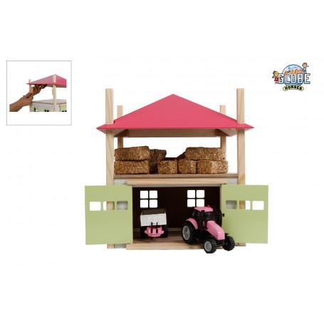 Kids Globe houten hooiberg met berging 1:32 roze
