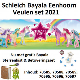 Schleich Unicorn foal Set 2021 (6 sparkling foals, including free Star sign box & magic set)