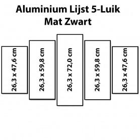 Mat Zwarte aluminium lijst vijfluik 132 x 72 cm
