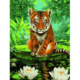 Tiger and Water Lilies - Schilderen op nummer - 40 x 50 cm