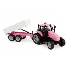 Kids Globe roze tractor met aanhanger licht geluid