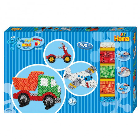 Hama Maxi strijkkralen giftbox 900 stuks - Voertuigen set 2