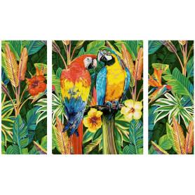 Papegaaien in een regenwoud - Schipper Drieluik 50 x 80 cm
