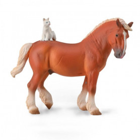Collecta 88916 Draft Horse with Cat