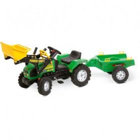 Traktor met frontloader en Aanhanger