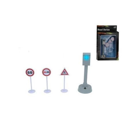Set flitspaal met licht en 3 verkeersborden
