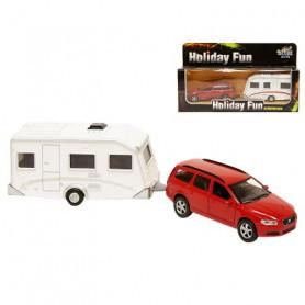 Metalen Volvo V70 met caravan