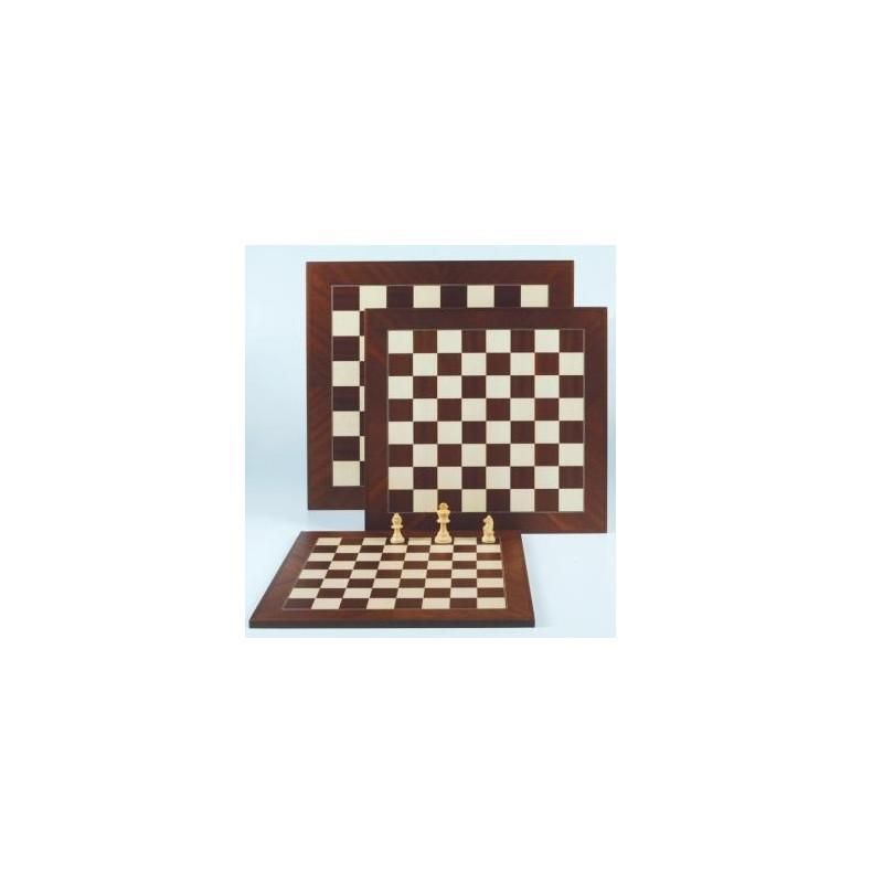 Schaakbord ingelegd Mahonie/Ahorn (veldmaat 45x45mm)