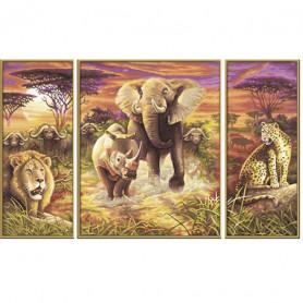 Afrika - de grote vijf - Schipper Drieluik 50 x 80 cm