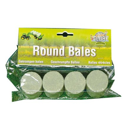Set of 4 round bales wrapped in plastic.