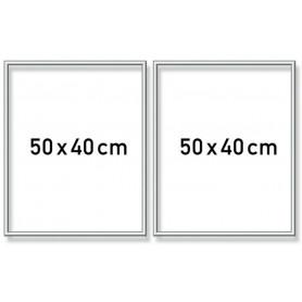Zilverkl. aluminium lijst tweeluik 50x80 cm
