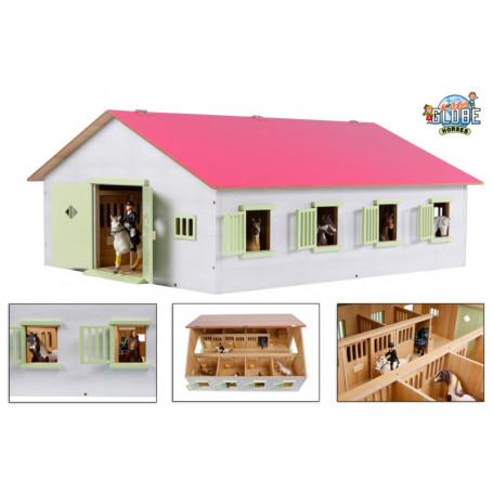 x Paardenstal met 7 boxen roze 1:24 Kids Globe